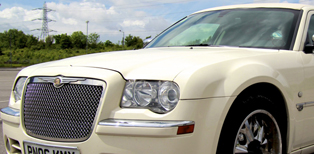 White Chrysler Limo Hire North Kent
